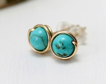 Genuine Turquoise Earrings, 14k Gold Filled Turquoise Post Earrings December Birthstone Wire Wrapped Yellow Gold Turquoise Stud Earrings