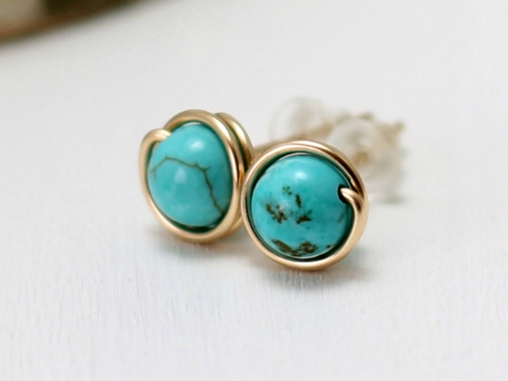 genuine turquoise earrings 14k gold filled turquoise post. Black Bedroom Furniture Sets. Home Design Ideas