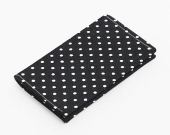 Fabric card holder, mini wallet, business card case, gift card case women - black and white polka dots