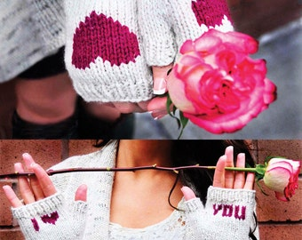 Be My Valentine KNITTING PATTERN INSTRUCTIONS Flirty Fingerless Gloves with Hearts, Lips, and Vday Messages