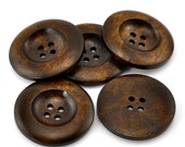 5 Large Dark Brown Coffee Wooden Button - 35mm - 1 3/8 inch -  4 hole - Wood Buttons (B21318)