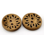 50 Light Brown Coffee Carved Wooden Buttons - 25mm (1 inch) - 2 Hole - Brown Wood Button (B21510)