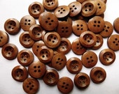 10  Brown Wooden Buttons - 15mm - 4 Hole - Wood Button (24210)