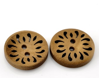 25 LIght Brown Coffee Carved Wooden Buttons - 23mm (7/8 inch) - 2 Hole - Brown Wood Button (B21510)