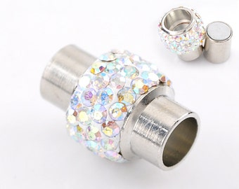 2 Rhinestone Magnetic Clasps - Silver Finish - 17mm x 12mm - Silver Clasp for Leather (B22076)