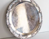 Vintage Round Silverplate Serving Dish - Vineyard Grapevine Design