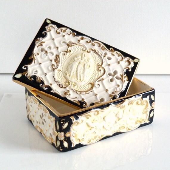 RESERVED for DOROTHY Vintage KBNY Ceramic Cherub Cameo Trinket Dresser Box - Koscherak Brothers New York