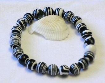 Black White Zebra Howlite Stone 8mm beaded gemstone stretch, stacking, healing bracelet   B014