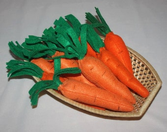"felt carrots 9"" long/ pretend carrots/ play carrots"