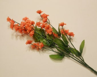 silk baby's breath flower stem, salmon / coral (DD)