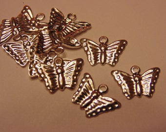 10 shinny  silver plated  butterfly charms, 8 mm