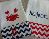 Red and Blue Chevron Burp Set