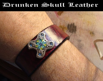 Custom Leather Cuff with Tooled Background and Jeweled Concho