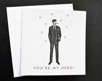 Plantable You're My Hero, Dapper Well-dressed Man, shades of Mad Men / Eco-Friendly Plantable Seeded Card
