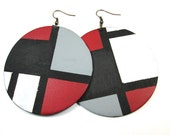 Redd Dice Earrings in Black, White, and Red
