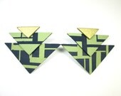 Fashion Warrior Post Earrings in Navy and Sage
