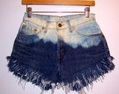 Vintage High Waisted Bleached Denim Shorts