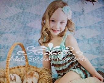 Vintage brown aqua ivory girl lace posh petti ruffle romper headband hair bow legging set S M L XL