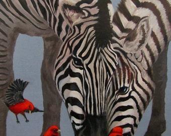 Dinner Guests - Original Zebra painting