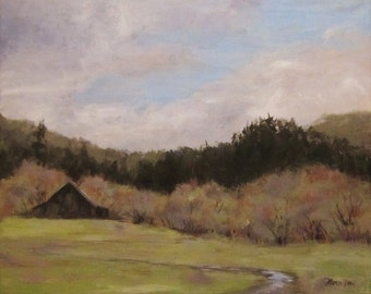 Waiting on Spring - Small Original Plein Air Landscape painting