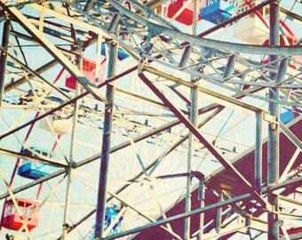 Steel Tracks Fine Art Gallery Wrapped Canvas Seaside Heights Roller Coaster Nursery Decor Jersey Shore 8x10