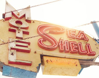 Sea Shell Motel - Vintage Motel Sign Photograph, Photo of Neon Sign at Jersey Shore - Fine Art