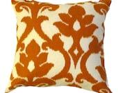 """Orange Pillow Cover -Greek Ikat  Pillow Cover- Orange Ikat Cushion- Orange/Ivory-Sizes  16"""",17"""",18"""",20"""" 24"""" 26"""", Lumbar Pillow or Euro Sham"""