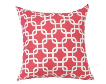 """Pink  Pillow Cover- Pink Links Pillow- Pink and White Pillow- Chain Pattern-.16"""",17"""",18"""",20"""" 24"""" 26"""", Lumbar Pillow or Euro Sham"""