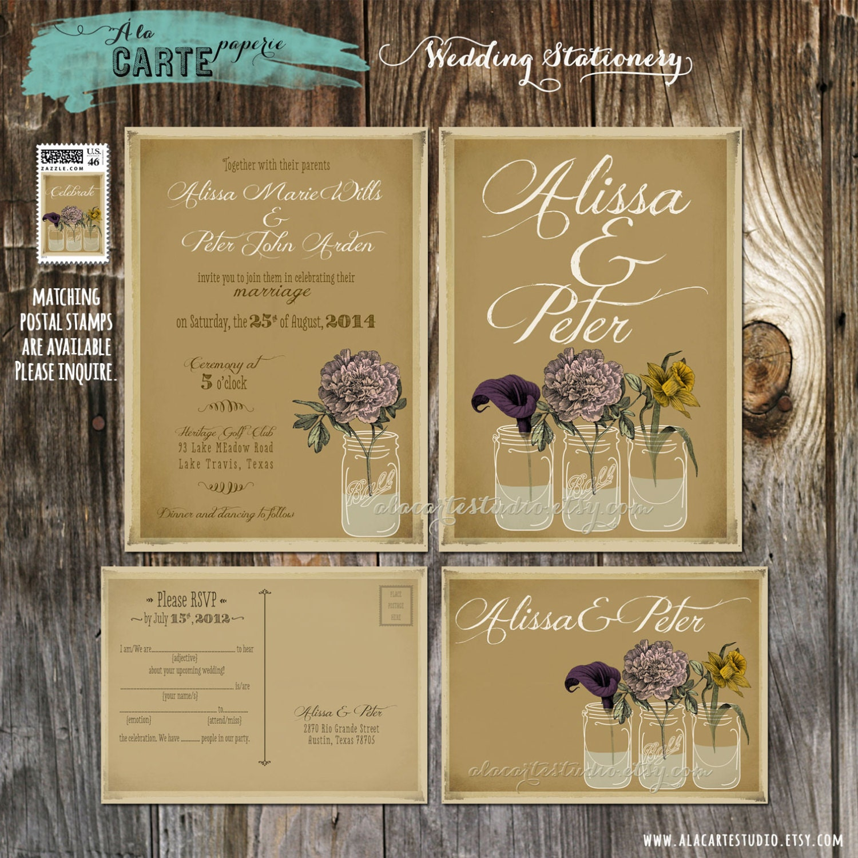 Rustic Mason Jar Wedding Invitation and RSVP Mason Jars Vintage – Rustic Wedding Invitations Kraft Paper