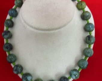Beautiful Handmade Carved Green Agate Toggle Necklace