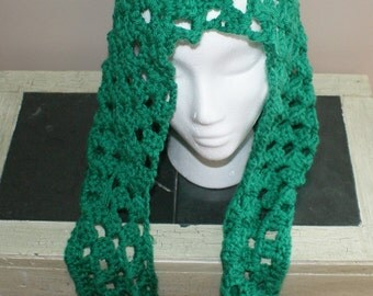 Green Hooded Scarf, Crochet Scoodie, Hood Scarf Combo, Womens Green Scarf, Womens Neck Wrap, Granny Stitch Hood, Green Pixie Hood
