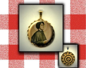 St Elizabeth Ann Seton Patron Saint death of children, parents, Catholic School hand pressed flat button CABOCHON in Brass Charm