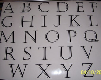 """1-1/2"""" Vinyl Letter Decals, All 26 letters or 26 of one letter"""