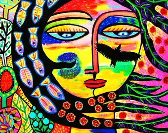 Sunset Raven Goddess - SILBERZWEIG ORIGINAL Art PRINT - Mexican, Virgin of Guadalupe, Twilight, Tree Of Life, Nature, Wind, Fish, Flowers
