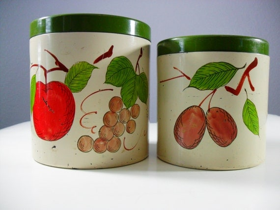 Items similar to vintage kitchen canisters rustic kitchen for Kitchen decor items