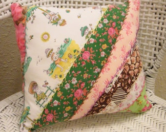 Vintage Quilt Front Shabby Home Décor Throw Pillow Embroidered Hand Sewn 1737
