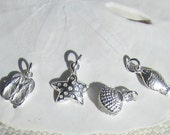 "Sterling Silver - Nautical ""By The Sea""  Charm  - Shell -  Flip Flop - Fish - Star - Bracelet Charms"