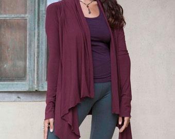 ON SALE 40% OFF Long Sleeve Yoga Wrap - Yoga Jacket - Burgundy (Size S/M)