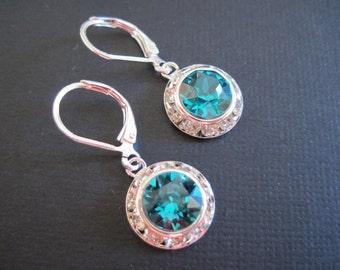 Blue Zircon Swarovski Crystal Drop Earrings/ Bridal Jewelry/ Bridesmaid Earrings/ Bling Earrings/ Wedding Jewelry/ Swarovski Earrings