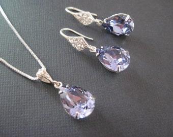 Purple Bridesmaid Jewelry Set/Swarovski Tanzanite Jewelry Set/Purple Crystal Bridesmaid Earrings/Crystal Earrings/Wedding Jewelry/Bridal