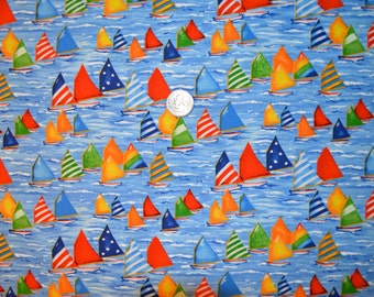 Timeless Treasures fabric COLORFUL SAILBOATS