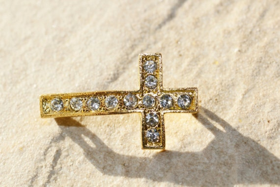 6pc Gold Rhinestone Connector  Cross/ Sideways Cross Charm / Bracelet and Necklace Connector Charms / Basketball wives