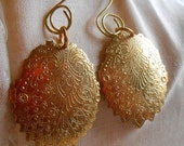 Earrings Etched Gold Oval Charm Sparkle Large Presence Party  or Everyday Wear Old World European Charm Gift under 20