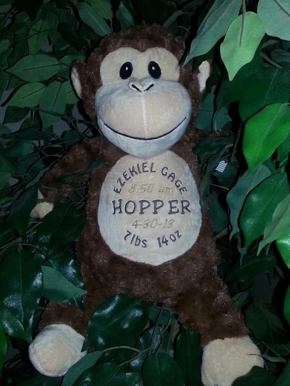 Monkey Personalized stuffed animal baby gift toddler present