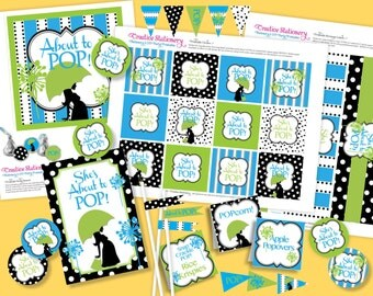 She's About to POP Boy Baby Shower. DIY Party Printables Package. Blue and Lime Green. Customized just for you.