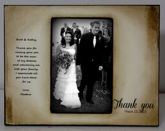 Wedding Distressed Vintage Picture for Groom's parents 4x6 Thank you Parent Photo Frame - Personalized Gift - Keepsake