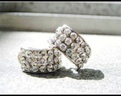 Glamorous Silver and Clear Rhinestone Evening Earring Vintage 1960s
