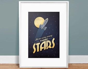 Among the Stars - Retro Art Print