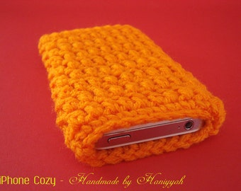 iPhone 5 sleeve jacket cover - handmade crochet - Pumpkin Orange