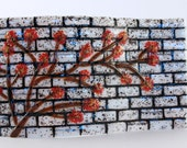 "Fused Glass ""Brick"" Wall and Flowers Panel"